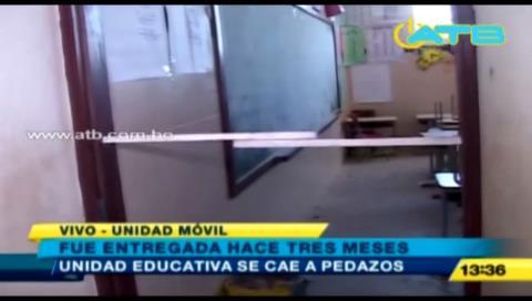 Colegio que fue entregado hace 3 meses se cae a pedazos en Santa Cruz