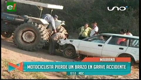 Mairana: Motociclista pierde un brazo en grave accidente