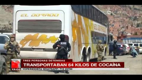 La Paz. Encuentran 64 kilos de cocaína en un bus de la empresa El Dorado