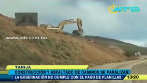Tarija: Empresas camineras paran labores por falta de pago