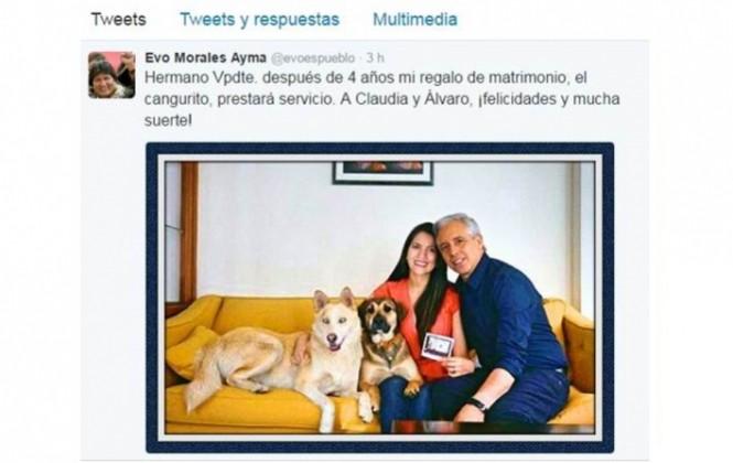 Presidente Morales felicita a García Linera y su esposa por el anuncio de que tendrán un bebé