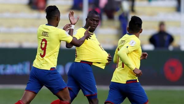 Enner Valencia, el autor de los dos goles para el buen empate de Ecuador en La Paz. (AP)