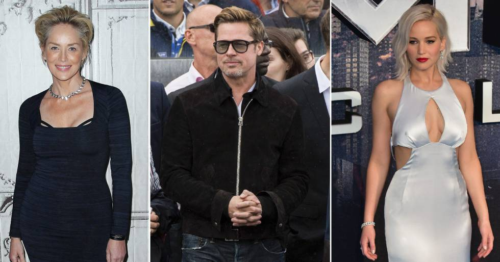 De izquierda a derecha: Sharon Stone, Brad Pitt y Jennifer Lawrence.