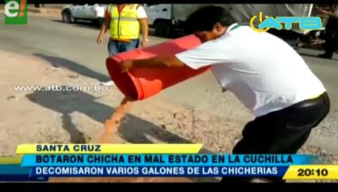 Botaron chicha en mal estado en La Cuchilla
