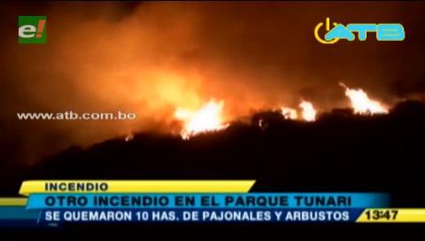 El Parque Tunari registra nuevamente un incendio