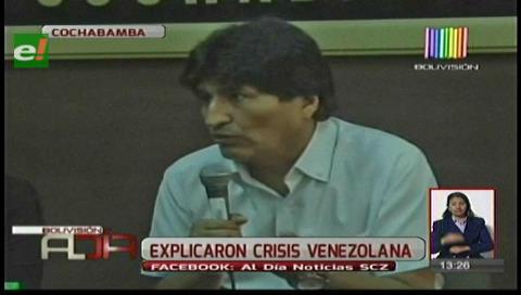 Evo denuncia que en Venezuela se gesta un golpe y se solidariza con el gobierno de Maduro