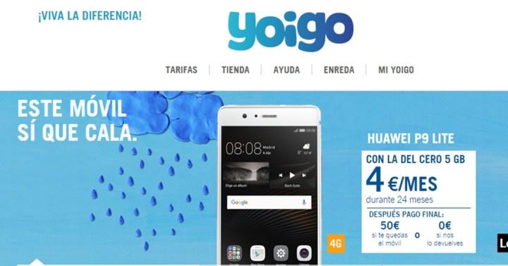 Oferta comercial del Huawei P9 Lite con Yoigo