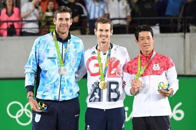 Andy Murray (oro), Juan Martin Del Potro (plata) y Kei Nishikori (bronce), el podio en Río 2016. AFP