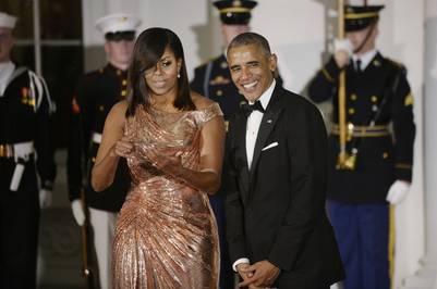 Barack y Michelle Obama, durante el último banquete de Estado que ofrecieron en la Casa Blanca. / DPA