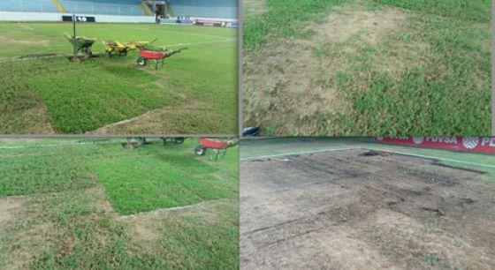 Así están varios sectores del campo de juego del estadio Monumental de Maturín. Fotos: FBF