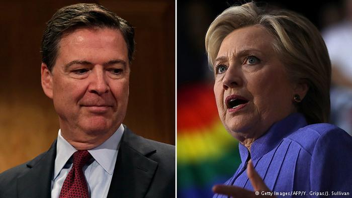 El director del FBI, James Comey, y la excandidata presidencial demócrata, Hillary Clinton