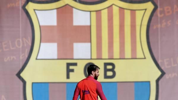 Lionel Messi, entrenándose con el Barcelona. (AP)