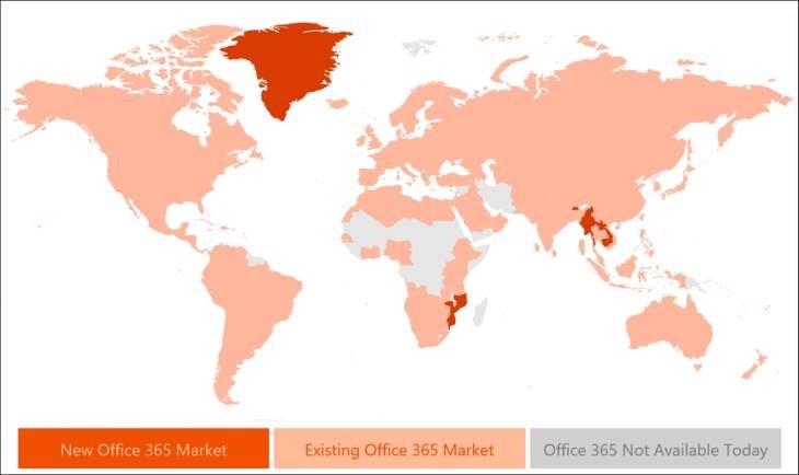 Imagen: Gráfica de disponibilidad de Office a nivel global/Microsoft