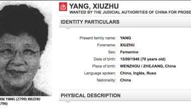 Yang Xiuzhu tiene circular roja de Interpol y encabezaba la lista de los más buscados en China. (Crédito: Interpol)
