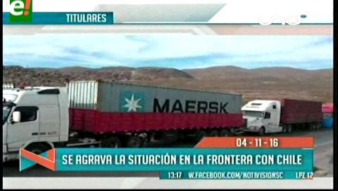 Titulares de TV: Se agrava la situación de transportistas  varados en frontera con Chile