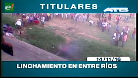 Titulares de TV: Queman vivo a un hombre en Entre Ríos