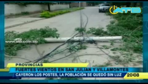 Fuertes vientos dejaron destrozos en San Julián y Villamontes