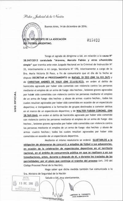 La orden judicial que le prohíbe a Di Zeo presenciar espectáculos deportivos.