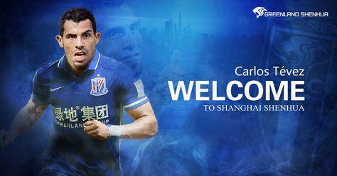Imagen facilitada por el club que muestra al jugador argentino Carlos Tevez con la camiseta de su nuevo equipo, el Shanghai Shenhua.