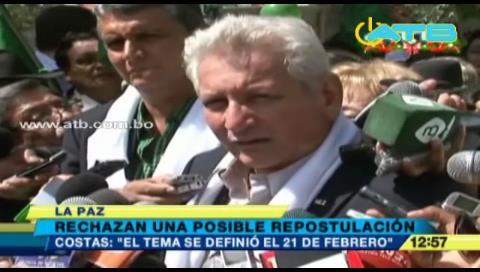 Gobernador Costas rechaza posible nueva repostulación de Evo