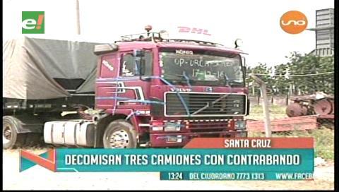 Aduana decomisa tres camiones con contrabando
