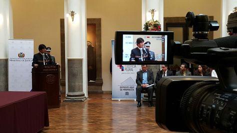 El presidente Evo Morales en la presentación del plan de reforma del sistema judicial.