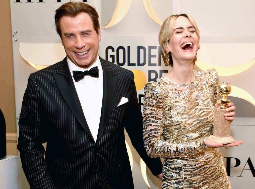 John Travolta, Sarah Paulson, 2017 Golden Globes, Candids
