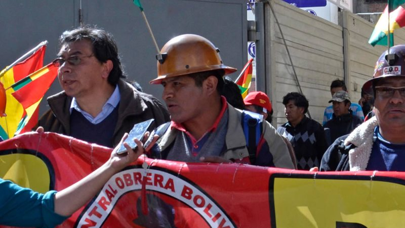 Guido Mitma, secretario ejecutivo de la COB, en una marcha en el anterior paro.