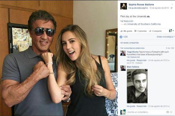 Imagen tomada de la cuenta de Facebook de Sophia Rosse Stallone