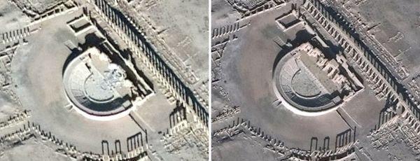 Esta comparativa de fotografías muestra imágenes detectadas por satélite del anfiteatro romano dañado en Palmira y del mismo monumento antes de que fuera demolido (AFP)