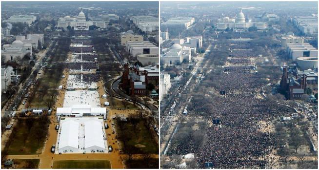 A la izquierda, el público para ver a Donald Trump a la hora de comienzo del acto (12:01). A la derecha, la primera investidura de Obama. (Reuters)