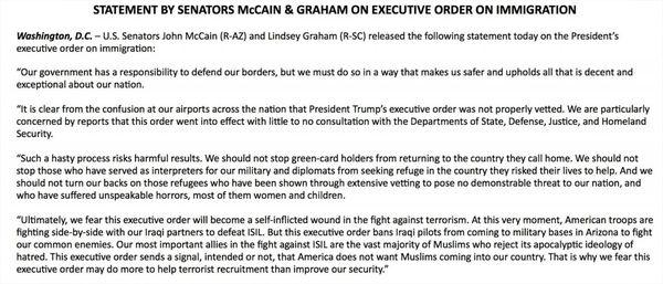 El comunicado de John McCain y Lindsey Graham