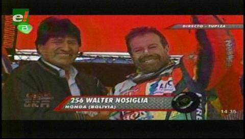 Evo recibe a Nosiglia y destaca su desempeño como primero de la cuarta etapa del Dakar