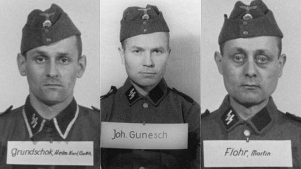 Helmut Grundschok, un plomero que ingresó a las SS en 1939; Johannnes Gunesch, rumano de origen alemán; Martin Flohr, un cerrajero croata
