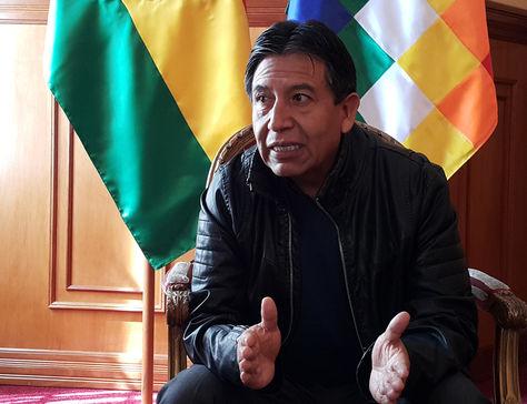 El excanciller David Choquehuanca durante una pasada entrevista con La Razón. Foto: La Razón
