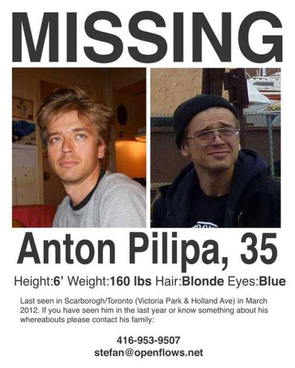 El cartel de alerta que se distribuyó en Toronto para hallar a Anton Pilipa. Por aquel entonces tenía 35 años, era marzo de 2012. Tenía problemas mentales