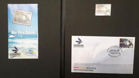 El sello postal presentado hoy por el canciller Fernando Huanacuni