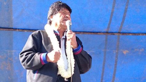 El presidente Evo Morales en el municipio de Vinto – Cochabamba.