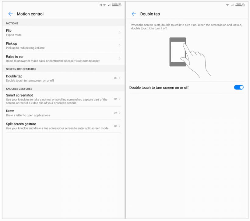 Menu doble toque pantalla Huawei