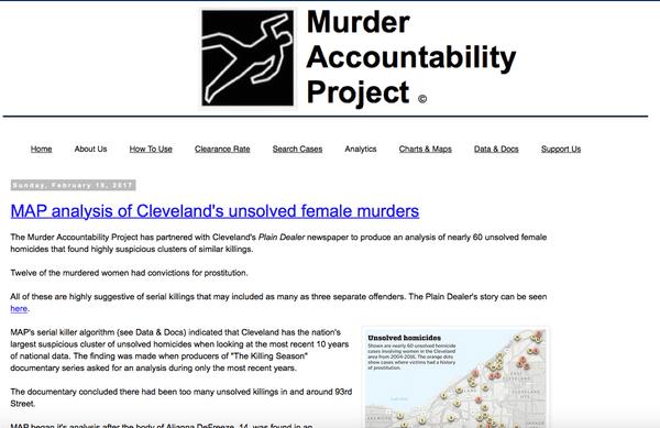 La fundación MAP se dedicó a recopilar información sobre homicidios no resueltos, entre los cuales se destacan patrones de similitud cuando ha actuado un asesino serial.