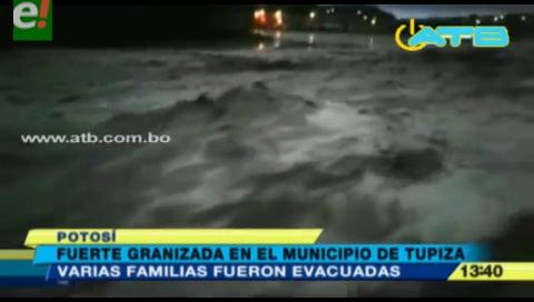 Se registró una fuerte granizada en Tupiza