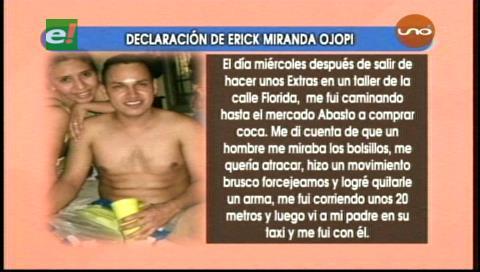 Declaración del supuesto asesino de Viviana Mollinedo
