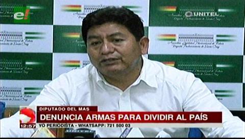 Diputado Montaño dice que armas decomisadas iban a ser utilizadas para dividir al país