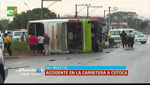 Al menos cuatro muertos en accidente en ruta Santa Cruz-Cotoca