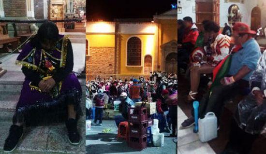 Tres imaganes que fueron divulgadas en la cuenta de Facebook del Santuario de la Virgen del Socavón.