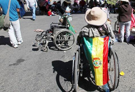 Una mujer con discapacidad durante las protestas que este sector protagonizó en 2016.