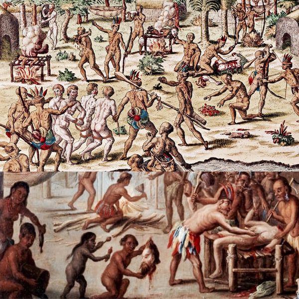 Más allá de las asociaciones del canibalismo con las culturas indoamericanas, la práctica del consumo de carne humana por parte del hombre tiene también un nutrido historial en territorios de Europa y Asia. Imagen inferior: escena de canibalismo en Brasil de 1644 por Jan van Kessel