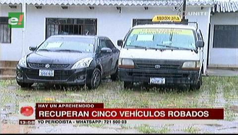 Diprove recuperó cinco vehículos y aprehendió a una persona