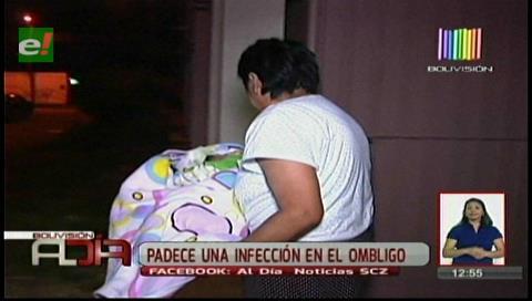 Bebé abandonada padece una infección en el ombligo