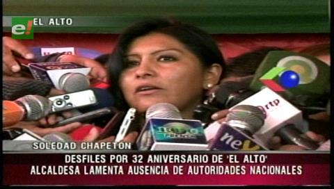 Aniversario: Alcaldesa Chapetón lamentó la ausencia de autoridades de Gobierno en El Alto